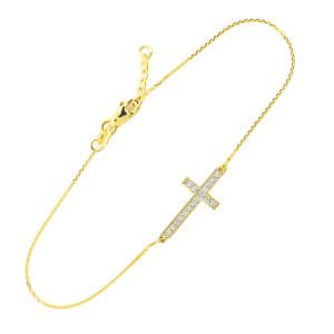 14K Gold Diamond Sideways Cross Bracelet
