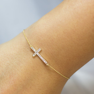 14K Gold Sideways Cross Cute CZ Bracelet