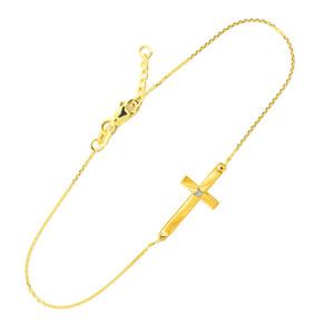 14K Gold Sideways Cross Cute Diamond Bracelet