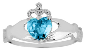 White Gold Claddagh Ring Ladies with Blue Topaz Birthstone.  Available in your choice of 14k or 10k White Gold.