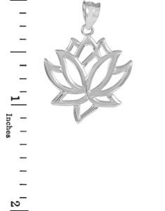 Lotus Flower White Gold Pendant Necklace