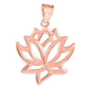 Lotus Flower Rose Gold  Pendant Necklace
