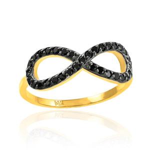 Black CZ Infinity Ring in Gold.