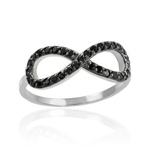 Black CZ Infinity Ring in White Gold.