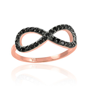 Black CZ Infinity Ring in Rose Gold.