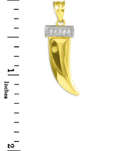 Tiger tooth good luck pendant in gold, with diamonds.
