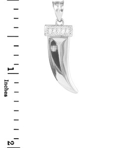 Tiger tooth fang pendant in white gold, with diamonds.
