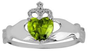 White Gold Claddagh Ring Ladies with Peridot Birthstone.  Available in your choice of 14k or 10k White Gold.