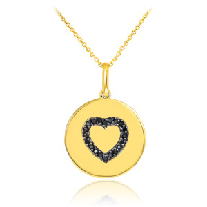 Heart disc pendant necklace with black diamonds in 14k gold.