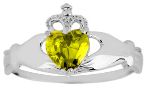 White Gold Claddagh Ring Ladies with Yellow Topaz Birthstone. Available in your choice of 14k or 10k White Gold.
