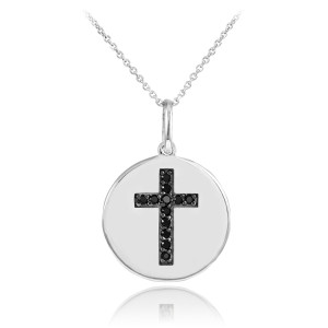 Cross disc pendant necklace with black diamonds in 14k white gold.