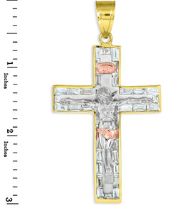 Yellow, white, and rose gold cz crucifix pendant.