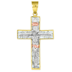 Tri-tone gold crucifix pendant with cz.