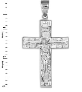 Mens white gold cross crucifix pendant.