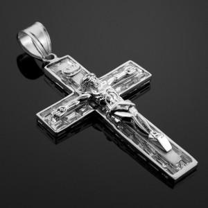Silver cz crucifix pendant.