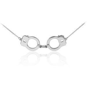 Handcuffs necklace in 14k white gold.