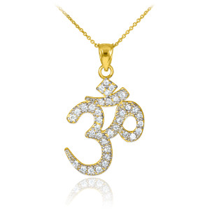 Diamond Ohm/Om pendant necklace in 14k yellow gold.