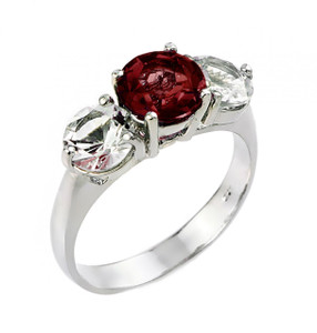 Garnet and white topaz gemstone ladies ring in 925 sterling silver.