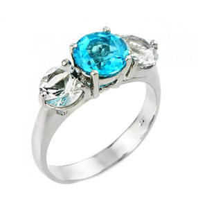 Blue and white topaz gemstone ladies ring in 925 sterling silver.