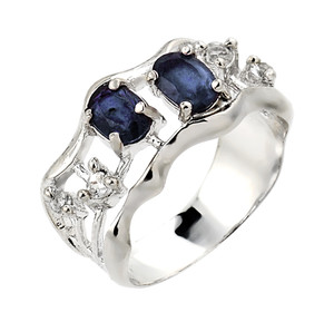 Sapphire and white topaz gemstone ladies ring in 10k or 14k white gold.