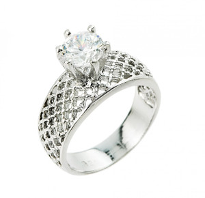 1 ct CZ (6 mm) fancy engagement ring in 10k or 14k white gold.