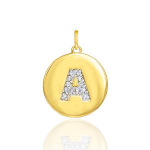 "Gold Letter ""A"" Initial Diamond Disc Pendant Necklace"