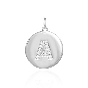 """White Gold Letter """"A"""" Initial Diamond Disc Pendant Necklace"""