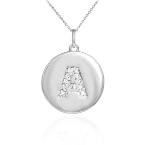 """Letter """"A"""" disc pendant necklace with diamonds in 10k or 14k white gold."""