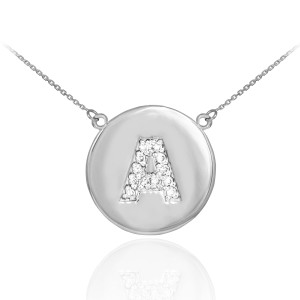 """Letter """"A"""" disc necklace with diamonds in 14k white gold."""