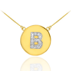 "Letter ""B"" disc necklace with diamonds in 14k yellow gold."
