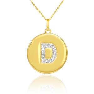 """Letter """"D"""" disc pendant necklace with diamonds in 10k or 14k yellow gold."""