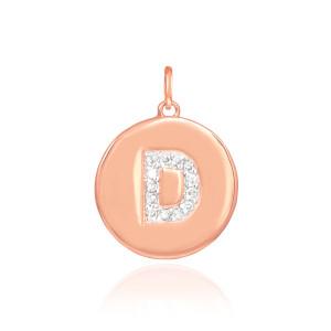 """14k Rose Gold Letter """"D"""" Initial Diamond Disc Pendant Necklace"""