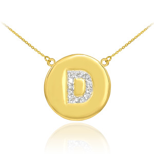 "Letter ""D"" disc necklace with diamonds in 14k yellow gold."