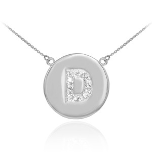 """Letter """"D"""" disc necklace with diamonds in 14k white gold."""