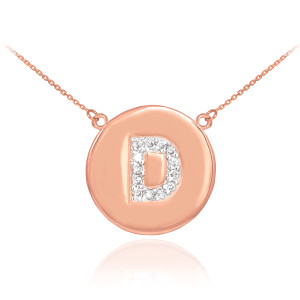 """Letter """"D"""" disc necklace with diamonds in 14k rose gold."""