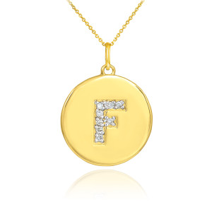 """Letter """"F"""" disc pendant necklace with diamonds in 10k or 14k yellow gold."""