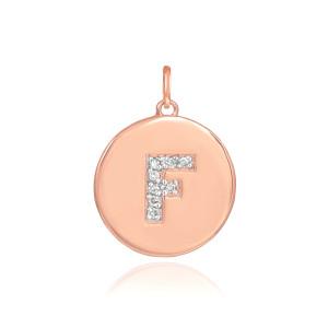 "14k Rose Gold Letter ""F"" Initial Diamond Disc Pendant Necklace"