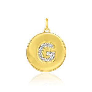 "Gold Letter ""G"" Initial Diamond Disc Pendant Necklace"