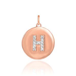 "14k Rose Gold Letter ""H"" Initial Diamond Disc Pendant Necklace"