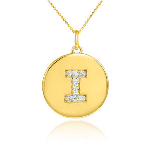 """Letter """"I"""" disc pendant necklace with diamonds in 10k or 14k yellow gold."""