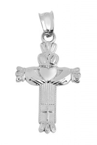White Gold Claddagh Cross Pendant Necklace