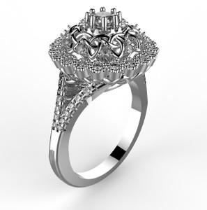 White gold 1 ct diamond celtic engagement ring.