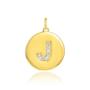 """Gold Letter """"J"""" Initial Diamond Disc Pendant Necklace"""
