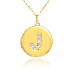 """Letter """"J"""" disc pendant necklace with diamonds in 10k or 14k yellow gold."""