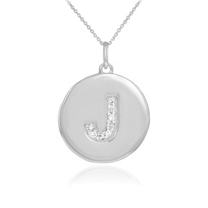 """Letter """"J"""" disc pendant necklace with diamonds in 10k or 14k white gold."""
