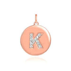 "14k Rose Gold Letter ""K"" Initial Diamond Disc Pendant Necklace"