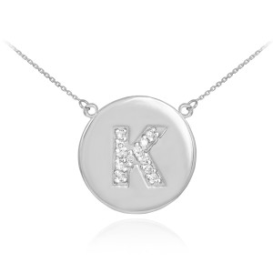 """Letter """"K"""" disc necklace with diamonds in 14k white gold."""