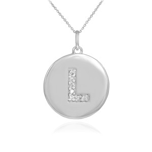 """Letter """"L"""" disc pendant necklace with diamonds in 10k or 14k white gold."""