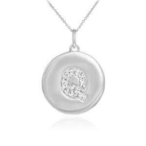 "White Gold Letter ""Q"" Initial Diamond Disc Pendant Necklace"