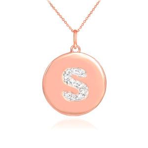 "14k Rose Gold Letter ""S"" Initial Diamond Disc Pendant Necklace"